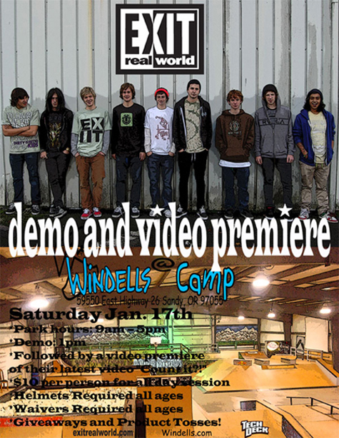 EXIT Real World Video Premier and Demo @ Windells Flier