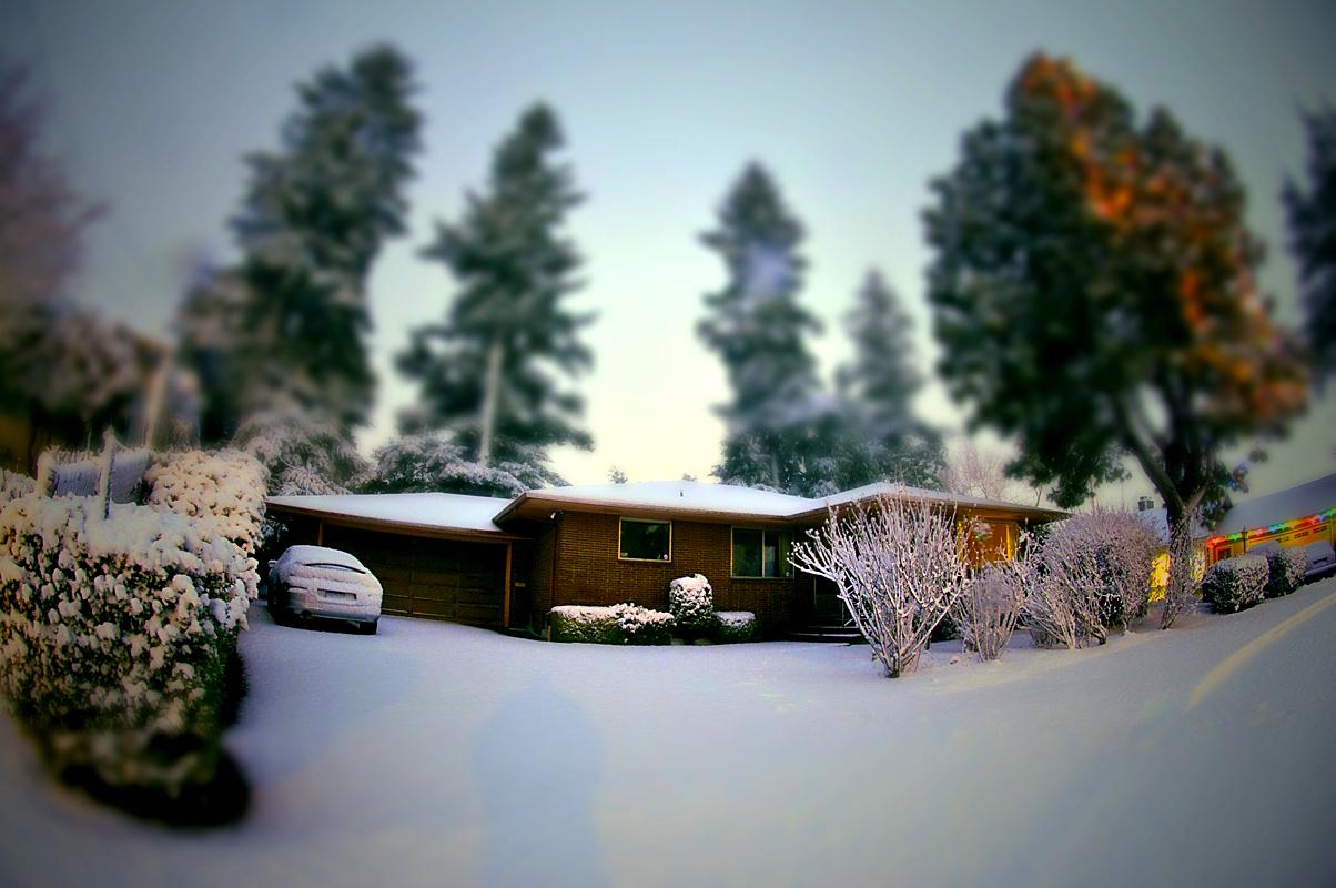 Tilt-shift of Snow Covered House
