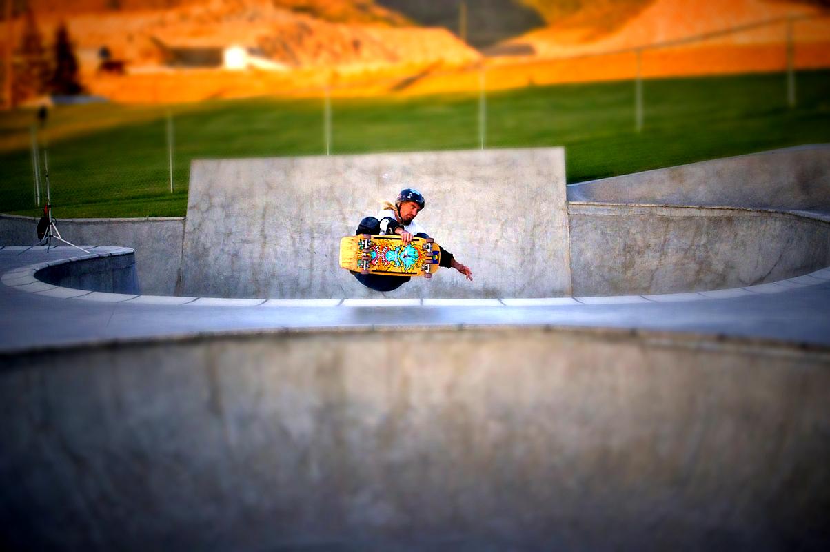 Tilt-shift of Rockin' Ron at Butte Skate Park