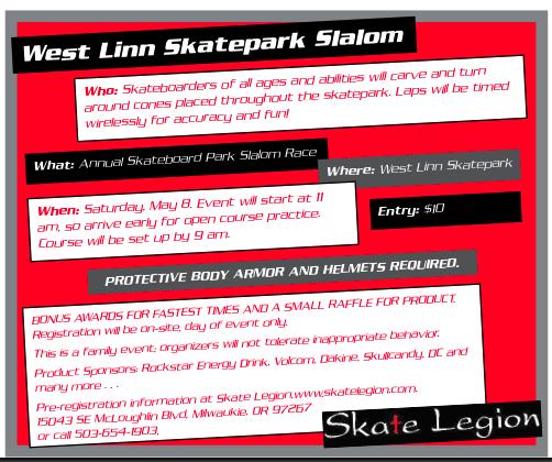 Flier for the 2010 West Linn Park Slalom