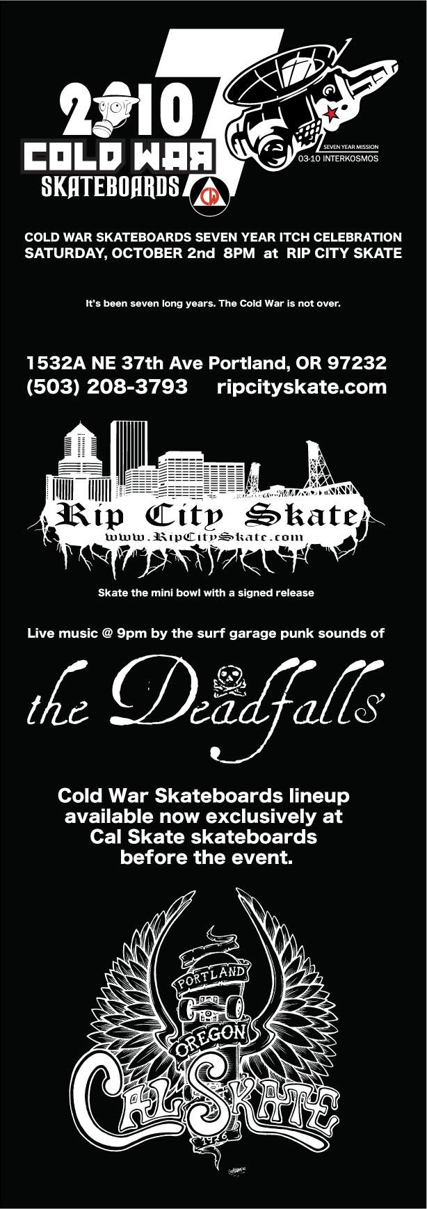 Cold War Skateboards 2010 Board Release Party Flier