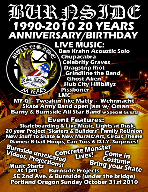 20 Year Burnside Anniversary Flier