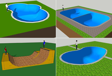 Amoeba Bowl, Tristen's Spine Bowl. Nick's Halfpipe, MC's Bowl using Google SketchUp