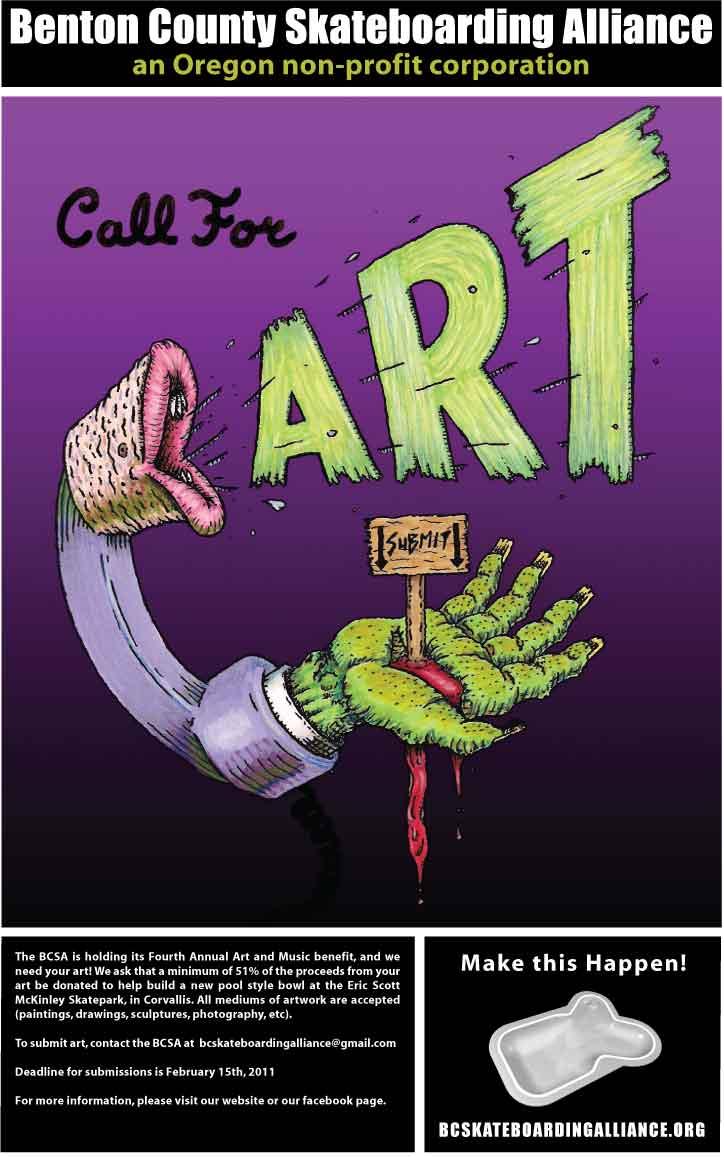 Benton County Skateboarding Alliance - Call for Art Flier