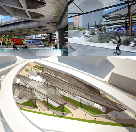 Steel Bridge Skatepark, Portland, Oregon - Renderings courtesy of DAO Architecture
